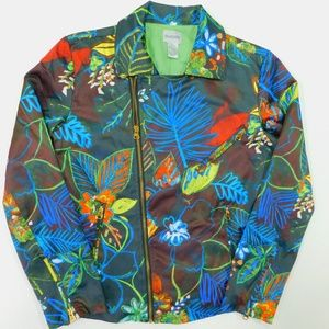 CHICOS Floral Moto Jacket Small 0 Full Zip
